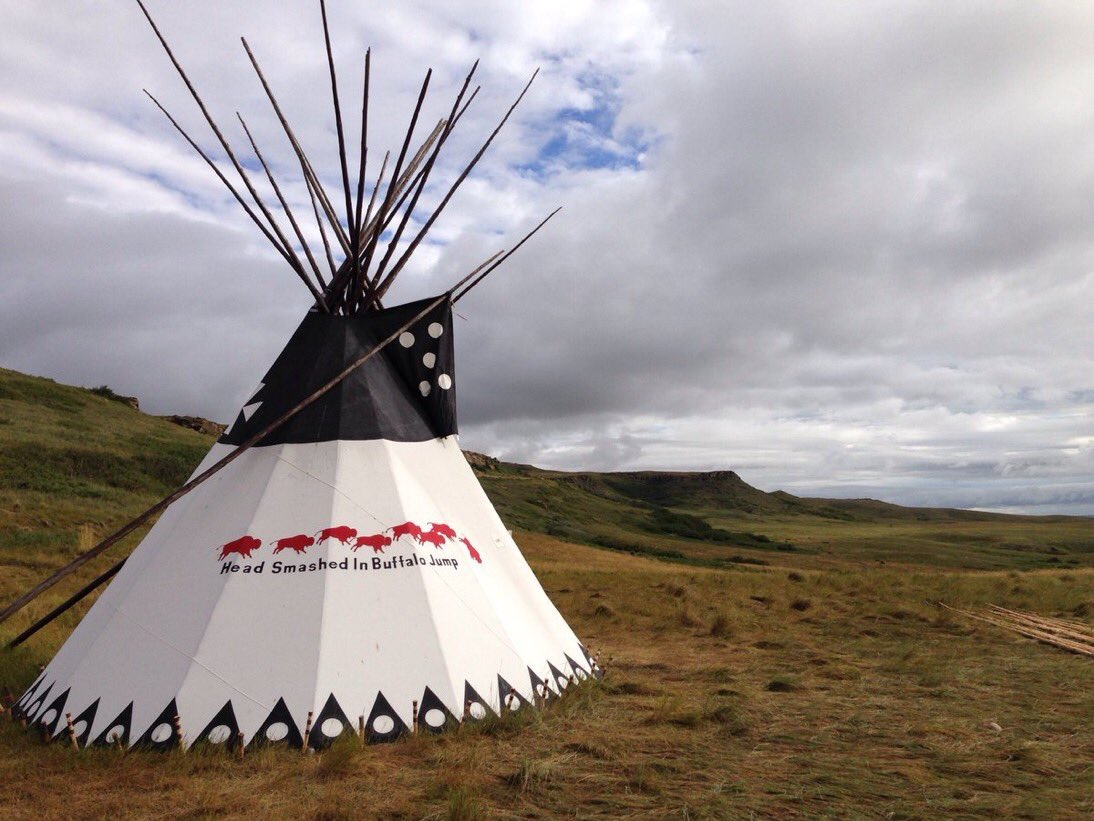 Tipi below the cliffs at Head-Smashed-In Buffalo Jump